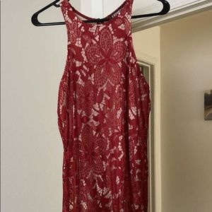 Express Red Floral Lace Dress